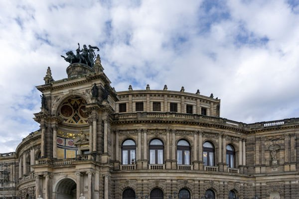 Dresden, Saxony / Germany - 3 September 2020: the Semperoper building in Dresden with the Quadriga above the entrance
